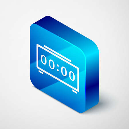 Isometric Digital alarm clock icon isolated on grey background. Electronic watch alarm clock. Time icon. Blue square button. Vector