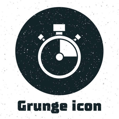 Grunge Stopwatch icon isolated on white background. Time timer sign. Chronometer sign. Monochrome vintage drawing. Vector