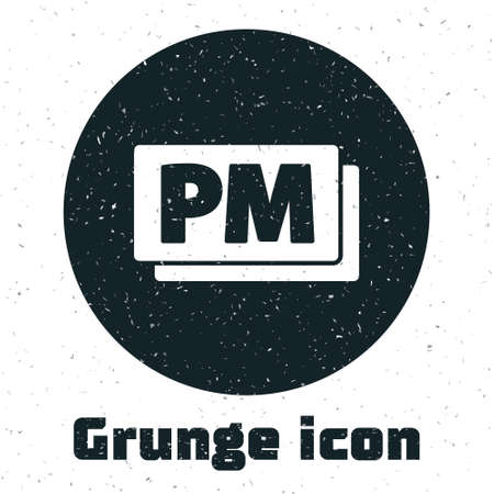Grunge Clock PM icon isolated on white background. Time symbol. Monochrome vintage drawing. Vector
