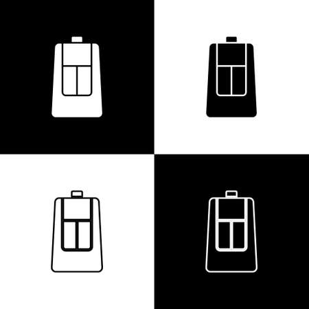 Set Car key with remote icon isolated on black and white background. Car key and alarm system. Vector