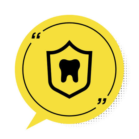 Black Dental protection icon isolated on white background. Tooth on shield icon. Yellow speech bubble symbol. Vector Ilustração