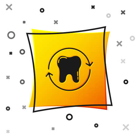 Black Tooth whitening concept icon isolated on white background. Tooth symbol for dentistry clinic or dentist medical center. Yellow square button. Vector