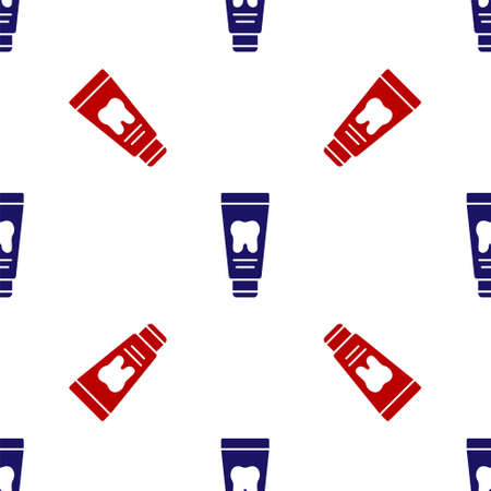 Blue and red Tube of toothpaste icon isolated seamless pattern on white background. Vector