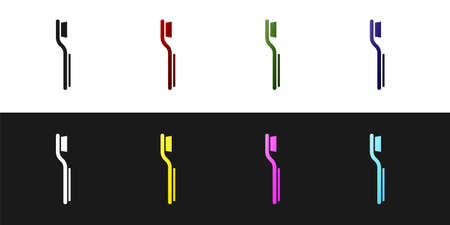 Set Toothbrush icon isolated on black and white background. Vector Ilustração