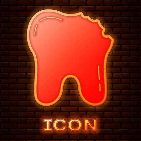 Glowing neon Broken tooth icon isolated on brick wall background. Dental problem icon. Dental care symbol. Vector