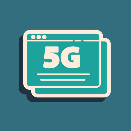 Green 5G new wireless internet wifi connection icon isolated on green background. Global network high speed connection data rate technology. Long shadow style. Vector Çizim