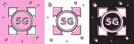 Set 5G new wireless internet wifi connection icon isolated on pink and white, black background. Global network high speed connection data rate technology. Vector