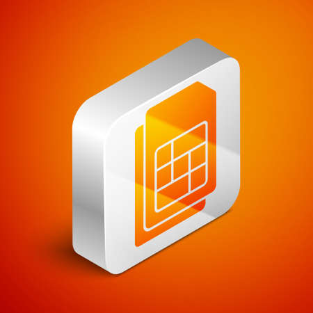 Isometric Sim card icon isolated on orange background. Mobile cellular phone sim card chip. Mobile telecommunications technology symbol. Silver square button. Vector Çizim