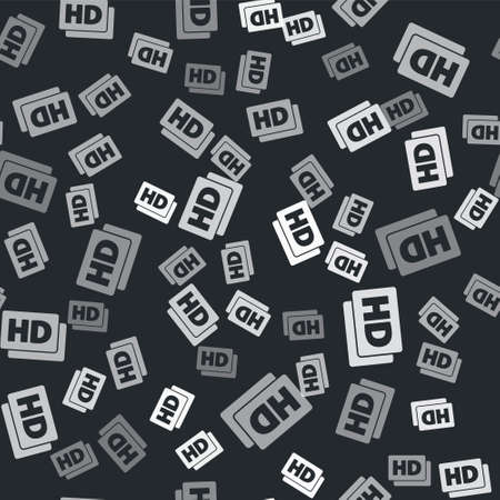 Grey Hd movie, tape, frame icon isolated seamless pattern on black background. Vector