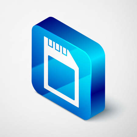 Isometric SD card icon isolated on grey background. Memory card. Adapter icon. Blue square button. Vector