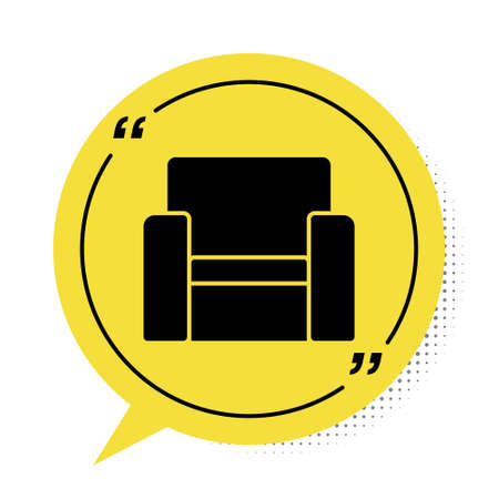 Black Cinema chair icon isolated on white background. Yellow speech bubble symbol. Vector