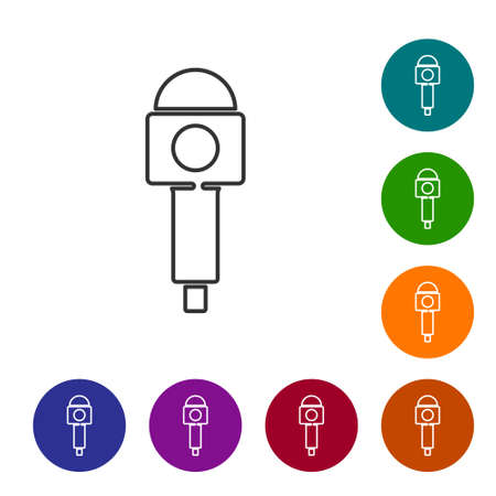 Black line Microphone icon isolated on white background. On air radio mic microphone. Speaker sign. Set icons in color circle buttons. Vector