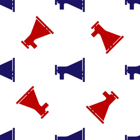 Blue and red Megaphone icon isolated seamless pattern on white background. Speaker sign. Vector