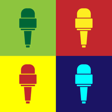 Pop art Microphone icon isolated on color background. On air radio mic microphone. Speaker sign. Vector Çizim