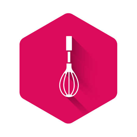 White Kitchen whisk icon isolated with long shadow. Cooking utensil, egg beater. Cutlery sign. Food mix symbol. Pink hexagon button. Vector