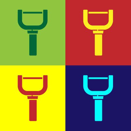 Pop art Peeler icon isolated on color background. Knife for cleaning of vegetables. Kitchen item, appliance. Vector 向量圖像