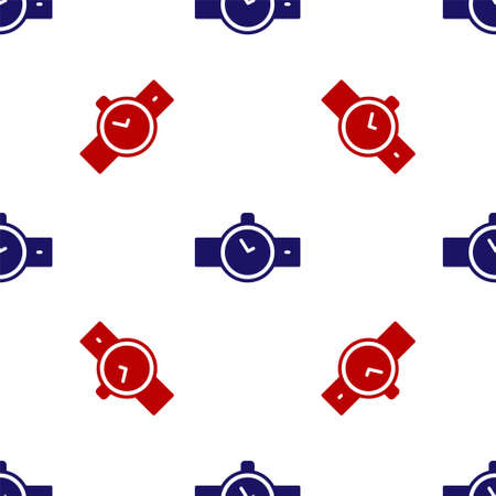 Blue and red Wrist watch icon isolated seamless pattern on white background. Wristwatch icon. Vector Çizim