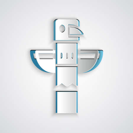 Paper cut Canadian totem pole icon isolated on grey background. Paper art style. Vector Stock Illustratie