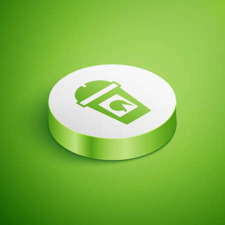 Isometric Coffee cup to go icon isolated on green background. Take away print. White circle button. Vector