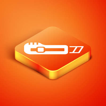 Isometric Stationery knife icon isolated on orange background. Office paper cutter. Vector