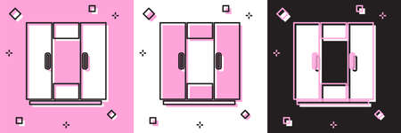Set Wardrobe icon isolated on pink and white, black background. Vector