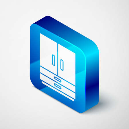 Isometric Wardrobe icon isolated on grey background. Blue square button. Vector Stock Illustratie