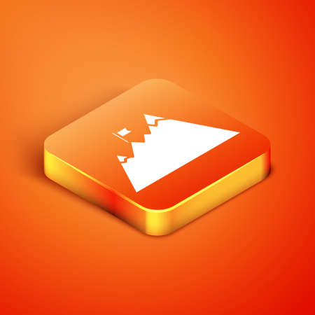 Isometric Mountains with flag on top icon isolated on orange background. Symbol of victory or success concept. Goal achievement. Vector