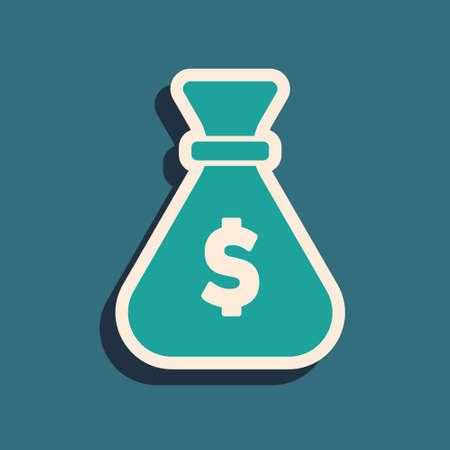 Green Money bag icon isolated on green background. Dollar or USD symbol. Cash Banking currency sign. Long shadow style. Vector 向量圖像