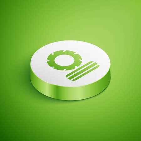 Isometric Lying burning tires icon isolated on green background. White circle button. Vector Ilustração