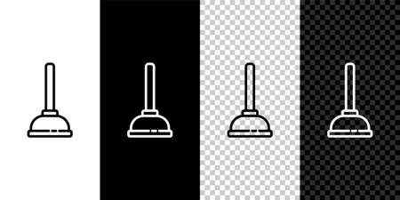 Set line Rubber plunger with wooden handle for pipe cleaning icon isolated on black and white background. Toilet plunger. Vector Illustration