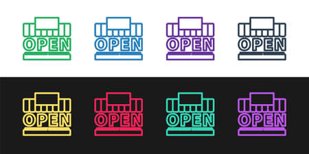 Set line Shopping building or market store and text open icon isolated on black and white background. Shop construction. Vector Illustration Ilustração