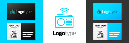 Blue line Smart radio system icon isolated on white background. Internet of things concept with wireless connection. Logo design template element. Vector Çizim