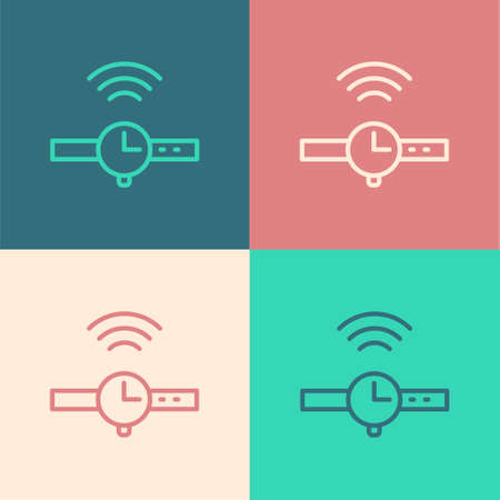 Pop art line Smartwatch icon isolated on color background. Internet of things concept with wireless connection. Vector