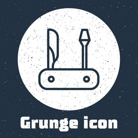 Grunge line pocket knife icon isolated on grey background. Multi-tool, multipurpose penknife. Multifunctional tool. Monochrome vintage drawing. Vector