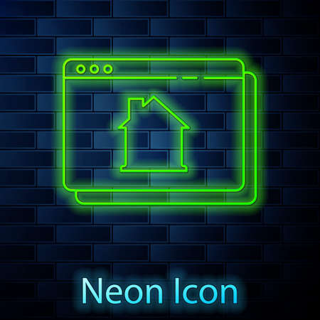 Glowing neon line Online real estate house in browser icon isolated on brick wall background. Home loan concept, rent, buy, buying a property. Vector Ilustração