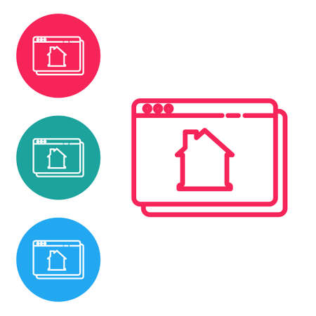 Red line Online real estate house in browser icon isolated on white background. Home loan concept, rent, buy, buying a property. Set icons in circle buttons. Vector