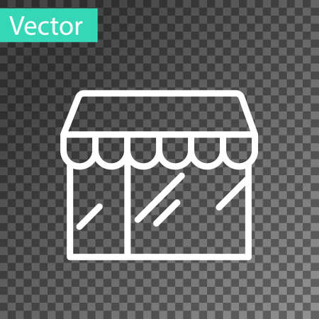 White line Shopping building or market store icon isolated on transparent background. Shop construction. Vector