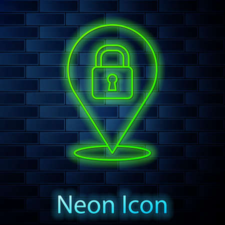 Glowing neon line Location lock icon isolated on brick wall background. The concept of the house turnkey. Vector Ilustração