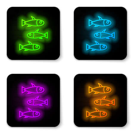 Glowing neon line Fishes icon isolated on white background. Black square button. Vector. Çizim