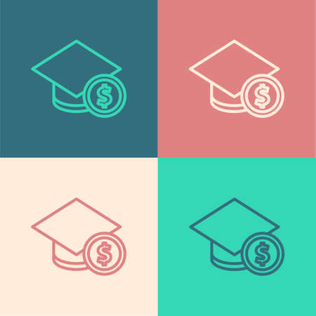 Pop art line Graduation cap and coin icon isolated on color background. Education and money. Concept of scholarship cost or loan, tuition or study fee. Vector.