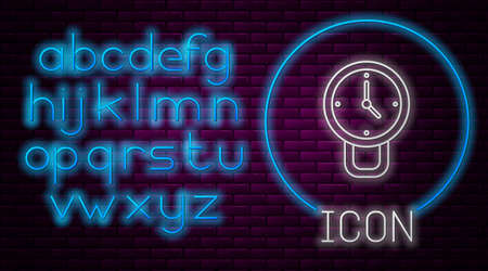 Glowing neon line Clock icon isolated on brick wall background. Time symbol. Neon light alphabet. Vector Çizim