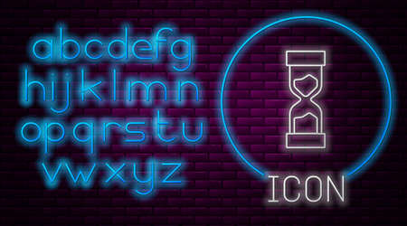 Glowing neon line Old hourglass with flowing sand icon isolated on brick wall background. Sand clock sign. Business and time management concept. Neon light alphabet. Vector