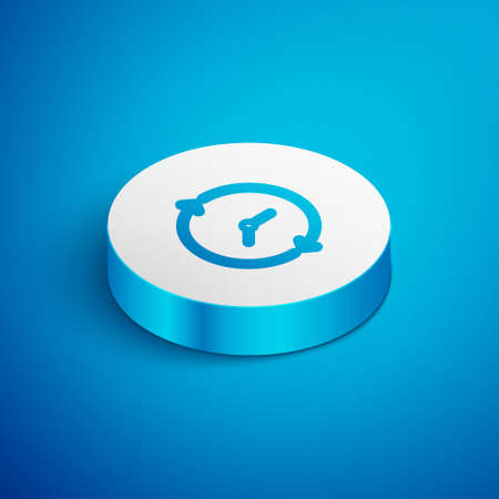 Isometric line Clock icon isolated on blue background. Time symbol. White circle button. Vector