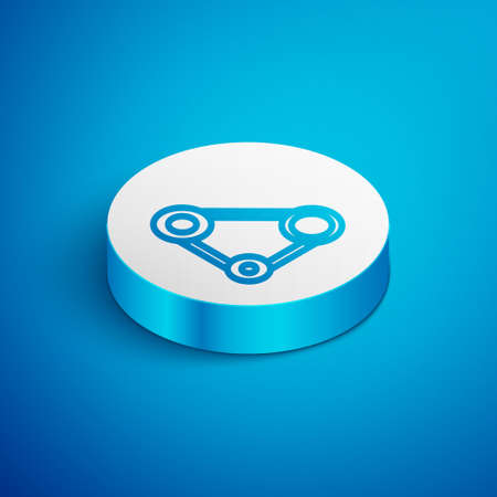 Isometric line Timing belt kit icon isolated on blue background. White circle button. Vector
