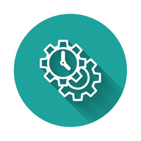 White line Time Management icon isolated with long shadow. Clock and gear sign. Productivity symbol. Green circle button. Vector