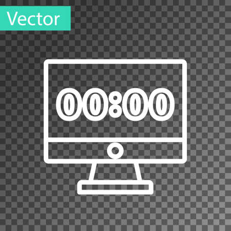White line Clock on computer monitor screen icon isolated on transparent background. Schedule concepts. Vector
