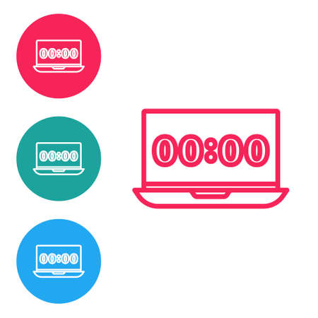 Red line Clock on laptop screen icon isolated on white background. Schedule concepts. Set icons in circle buttons. Vector Çizim
