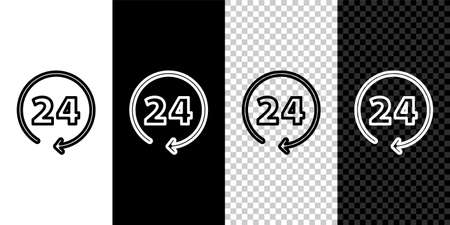 Set line Clock 24 hours icon isolated on black and white background. All day cyclic icon. 24 hours service symbol. Vector Çizim