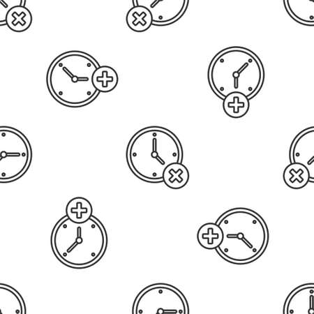 Grey line Clock delete icon isolated seamless pattern on white background. Time symbol. Vector