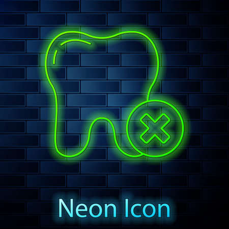 Glowing neon line Tooth with caries icon isolated on brick wall background. Tooth decay. Vector Ilustração